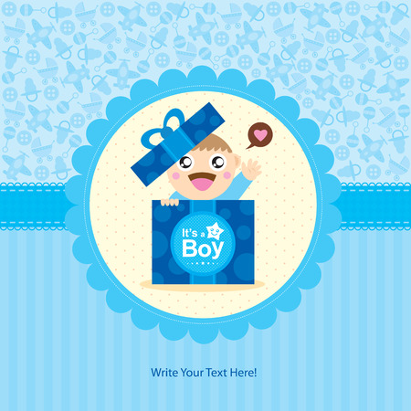 blue party: baby boy greeting card