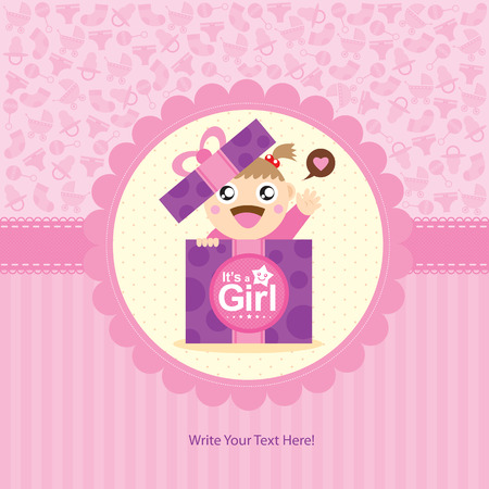 baby announcement: baby girl greeting card Illustration
