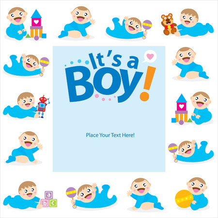 baby boy greeting card Vector