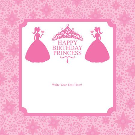 birthday princess card design Vector