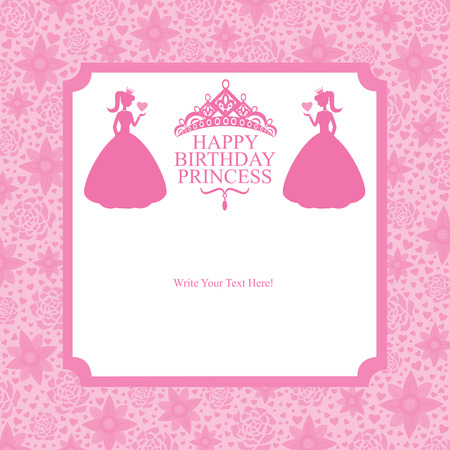 birthday princess card design Vector