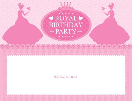 carte invitation: conception d'anniversaire de carte de princesse Illustration
