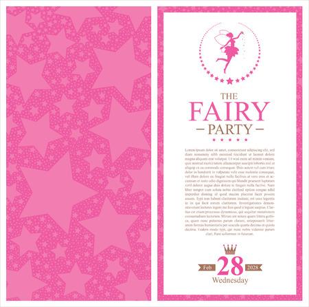 fairy birthday invitation card Vector