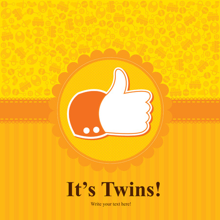 thumbs up icon: baby twins shower card