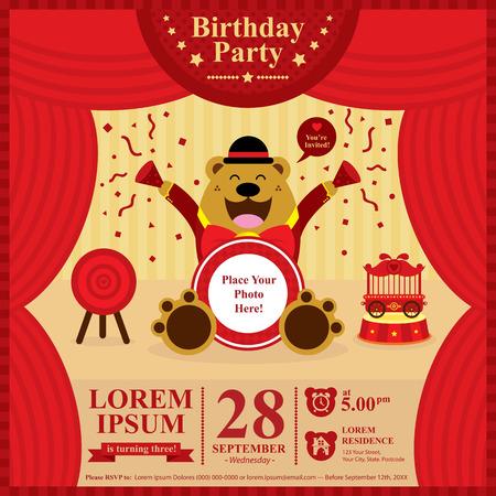 Birthday bear invitation card Stock Illustratie
