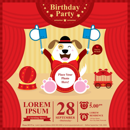 Birthday dog invitation card Vector