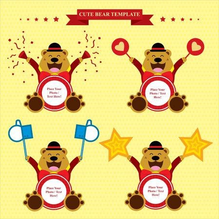 cute brown bear template sets Vector