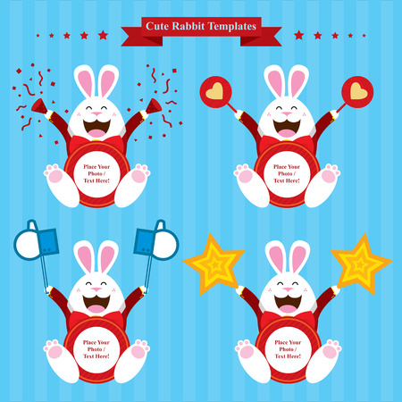 cute bunny template sets Vector
