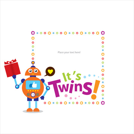 baby twins shower invitation card Vector