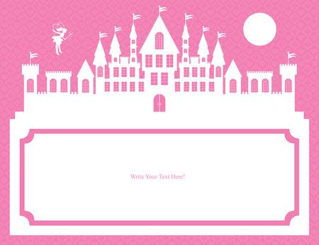 castillos de princesas: hadas y reino plantilla tarjetas