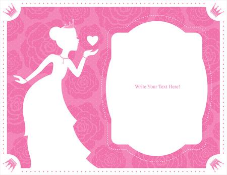 princess cards template Vector