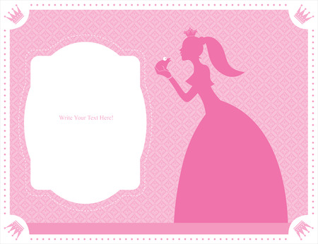 princess and frog card template Vector