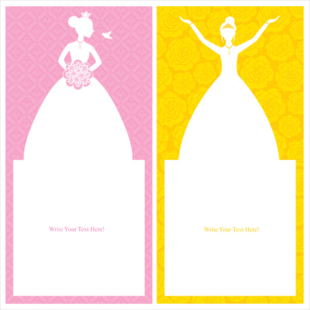 princess cards template Vector