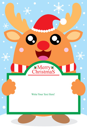 Christmas reindeer card Stock Illustratie