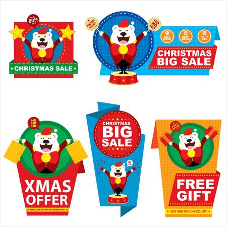 Polar Bear Christmas price tag Vector