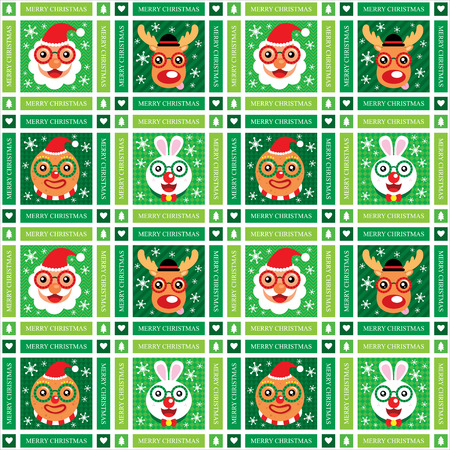 Christmas Seamless Santa Claus and Friends Vector
