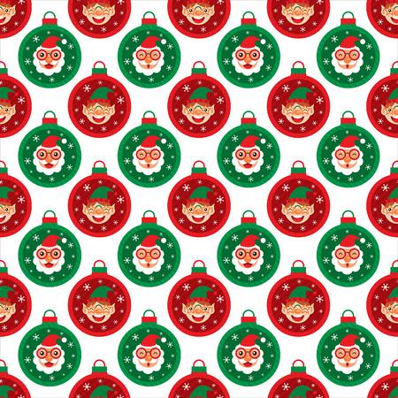 Christmas seamless Santa Claus and Elf Vector