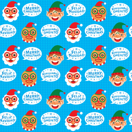 Christmas Santa Claus and Friends Seamless Vector