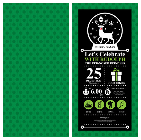 red nosed: Christmas Reindeer Invitation Card