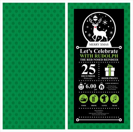 christmas reindeer: Christmas Reindeer Invitation Card