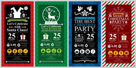 Christmas Party Invitation Card sets Vector