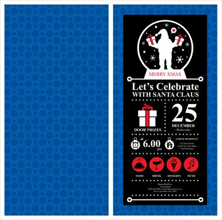 Christmas Santa Claus Invitation Card Vector