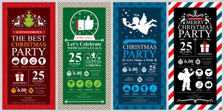 Christmas Party Invitation Card sets Stock Illustratie