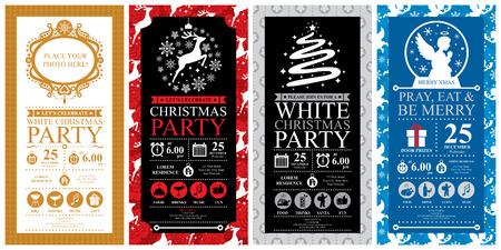 Christmas Party Invitation Card sets Vectores