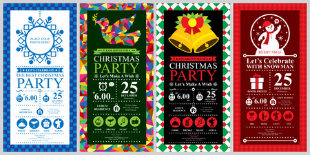 Christmas Party Invitation Card sets Illustration