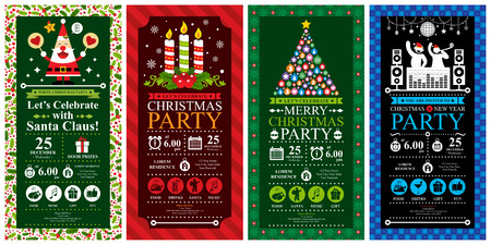 Christmas Party Invitation Card Sets Vector