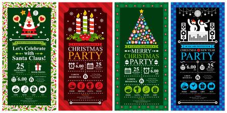 party dj: Fiesta de Navidad Conjuntos Tarjeta de la invitación Vectores