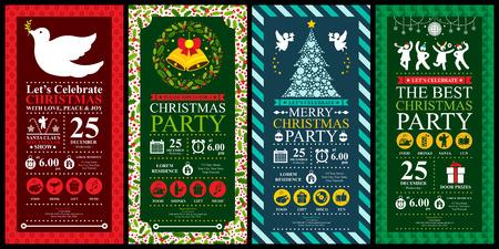 Christmas Party Invitation Card sets Illustration