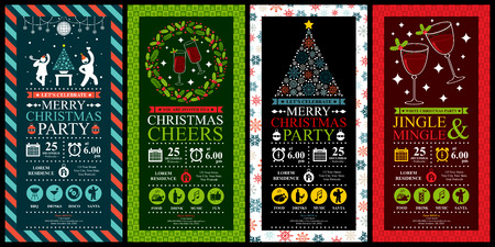 Christmas Party Invitation Card Sets Stock Vector - 39093950