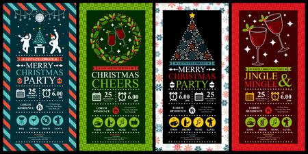 muerdago: Fiesta de Navidad Conjuntos Tarjeta de la invitación Vectores