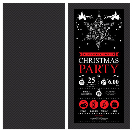 Christmas Party Invitation Card Archivio Fotografico - 39448556