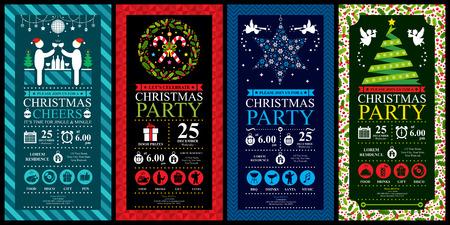 Kerstmis partij uitnodiging kaart sets Stock Illustratie