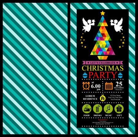 shopping mall signage: Christmas party invitation card Illustration