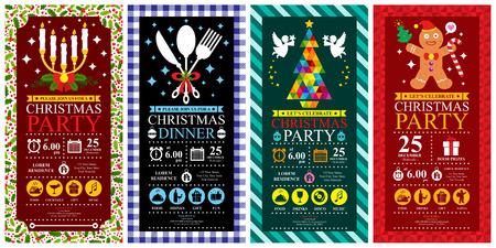 comida de navidad: Sistemas de tarjeta de invitación del partido de Navidad