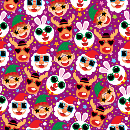 bunny xmas: Christmas Santa Claus and Friends seamless