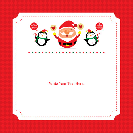Christmas card template Santa Claus