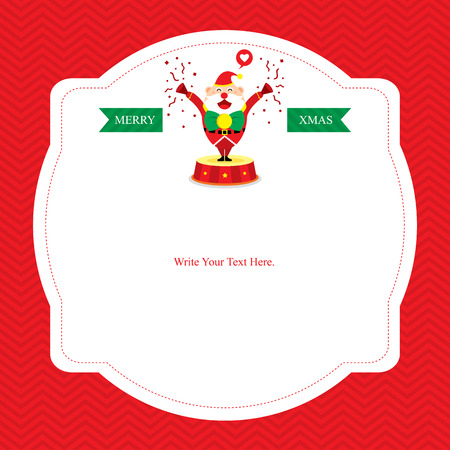 christmas dinner party: Christmas card template with Santa Claus