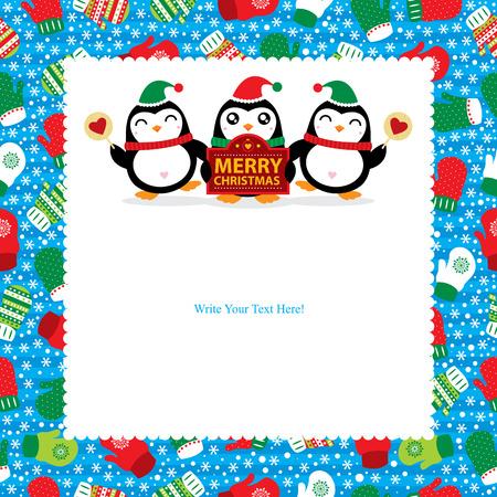 pinguinos navidenos: Tarjeta de Navidad con los ping�inos Vectores