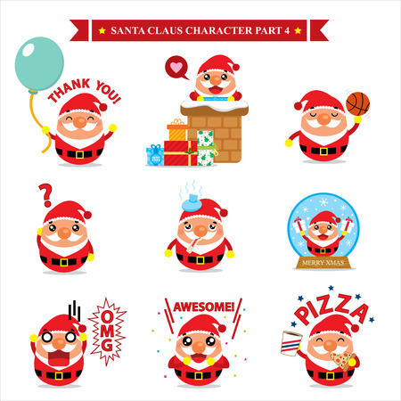 sticker vector: Santa Claus character sets