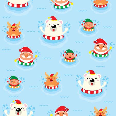 friends having fun: Christmas Seamless Swimming Santa Claus Illustration
