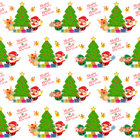 toy shop: Christmas Seamless Santa Claus and Friends Illustration