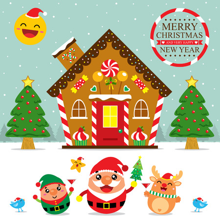 christmas candy: Christmas Card Santa Claus and Friends