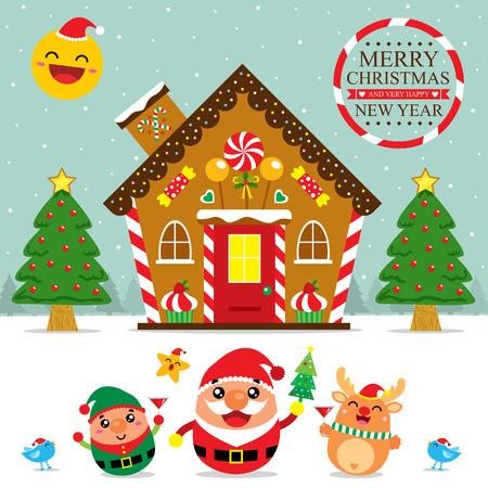casita de dulces: Tarjeta de Navidad de Santa Claus y Amigos Vectores
