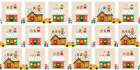 サンタ クロースとクリスマスの町  イラスト・ベクター素材