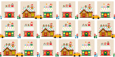 wrap vector: Christmas town with Santa Claus