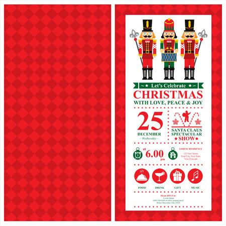 Christmas Invitation Card with Nutcracker
